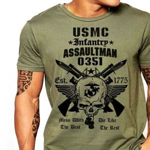 Wholesale US Marines Infantry Assaultman Tshirt men MOS USMC army Graphic Tee USA size S XL