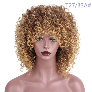 New Style Lace Frontal Short Curly Synthetic Wigs with Bangs Heat Resistant Fiber 150% Density 15inch