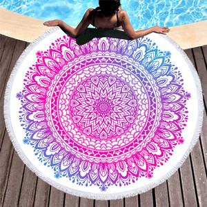 Wholesale portable outdoor camping mat resale online - 150 cm polyester Summer round Tassel beach towel soft fast dryer women towel portable outdoor camping picnic Camping Mat FT39