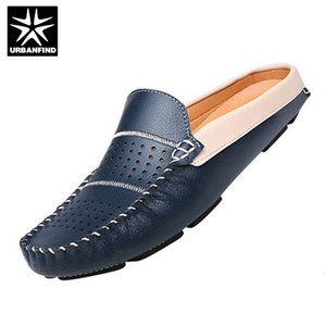 Wholesale URBANFIND New Fashion Man Leather Flats British Half Slipper Loafers EU Summer Men Driving Shoes Black Dark Blue White