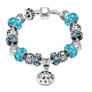 Wholesale Pandora Romantic Charm Bracelet S925 Silver Plated Round Pattern Mosaic Glass Tin Alloy Bracelet Accessories Elegant Jewelry Gifts POTALA006