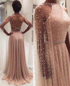 Wholesale 2020 A Line Prom Dresses Formal Evening Dress Pearls Party Wear Backless Sexy Plus Size Maxi Gown
