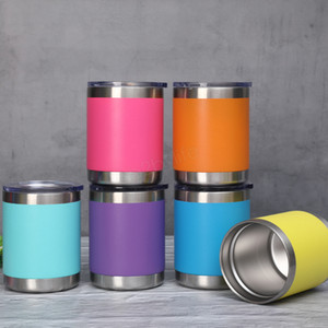 Wholesale 10oz Mug Powder coating Stainless Steel Tumblers Bilayer Insulation Car Beer Mugs Large Capacity Sports Cups LJJA2987
