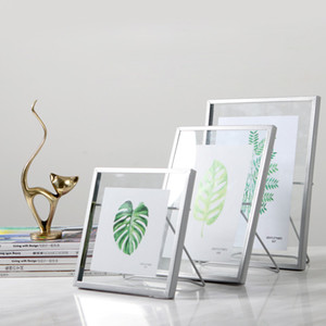 Wholesale Pressed Glass Floating Picture Frame Nordic Metal Wire Photo Frame with Cute Cat Easel Stand Gold Silver Black x4 x6 x7