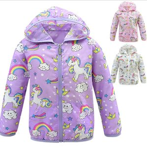 Wholesale INS Baby Unicorn Coat 4-12Y Kids Rainbow Unicorn Outwear Unicorn Jackets for Children Designer Clothes Baby Girl Sun Protection Clothing 20p