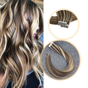 Remy Tape in Hair Extensions Brazilian 100% Real Human Hair Skin Weft Invisible Double Sided Tape 20pcs 16-24inch