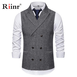 Wholesale Mens Formal Double Breasted Vests Classic Suit Gilet Homme Slim Fit Coffee Waistcoat Men Marriage Chalecos Para Hombre