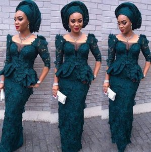 African 2020 Aso Ebi Lace Evening Dresses With 3 4 Long Sleeves Peplum Sheath Black Girl Prom Dress Vestidos Dubai Formal Wear Party Dress on Sale