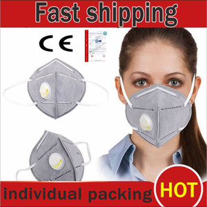 Wholesale Folding N95 Face Mask with Self priming Filter Face Protective Dustproof KN95 Masks Anti Dust Flu Smoke Allergies ffp2 ffp3 DHL jersey1234