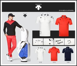 Wholesale Men Short sleeve DESCENTE Golf T shirt colors Golf clothes S XXL in choice Leisure Golf shirt