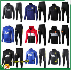 Wholesale 19 Adult FC United soccer tracksuit Hoodie UTD POGBA RASHFORD football jacket training suit jogging survetement foot chandal
