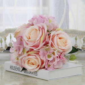 Wholesale 7 Forks Artificial Flowers Wedding Bride Hand Holding Fake Hydrangea Flowers for Home Decorative Simulation Flower Bouquet