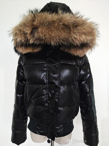 Wholesale M women down jacket thickening Short down parkas real raccoon fur collar hood down coat Black Red Color