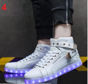 Wholesale 2017 New Men Fashion Luminous Shoes High Top LED Lights USB Charging Colorful Shoes Unisex Lovers Casual Flash Shoes