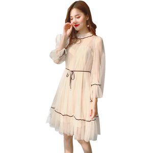 Wholesale Lace See through Women Dresses Summer Sexy O Neck Party Beach Mesh Dress Beige Blue Flare Sleeve Lady Fashion Clothing