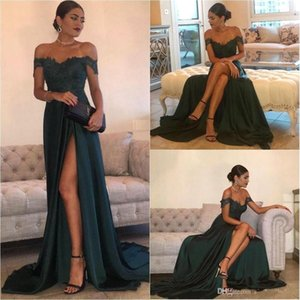 Wholesale Dark Green 2019 Cheap Evening Dresses A Line Chiffon Off Shoulder Floor-Length High Side Split Lace Elegant Long Prom Dress Formal Dress