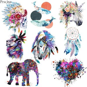 Wholesale Prajna Parches Heat Transfer Vinyl Patch Sticker Iron On Transfer For Clothes Fabric Elephant Patch Lion Tiger Applique Badge