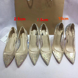 Wholesale Designer Red bottom Women Silver golden dress shoes Rhinestones wedding shoes Sexy pointed toe high heel slip on stiletto pumps basic shoes
