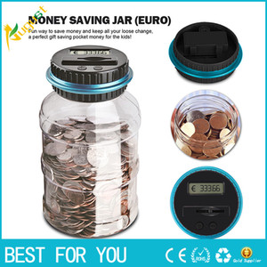 Wholesale 1 L Piggy Bank Counter Coin Electronic Digital LCD Counting Coin Money Saving Box Jar Coins Storage Box For USD EURO GBP Money