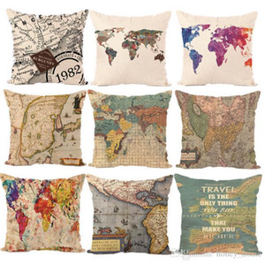 Wholesale design Creative Vintage World Map Pattern Seat hug Pillow Case Decorative Home Chair Throw Pillows Case cm