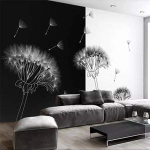 Wholesale black green wallpapers resale online - Modern Style black and white dandelion modern minimalist fashion TV background wall custom large mural green wallpaper mural