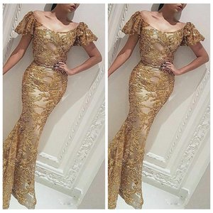 Bling Bling Sequin Mermaid Evening Dresses Scoop Neck Short Sleeve Sweep Train Evening Wear Gold Abric Prom Party Gowns on Sale