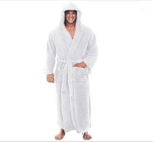 Super Long Sleepwear Casual Loose Mens Pyjamas Solid Color Hooded Belt Mens Designer Robes Long Sleeve Winter Autumn Oversize