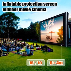 Wholesale 6x4M Inflatable Outdoor Projector Movie Projection Screen Home Party Backyard Cinema Blower Fan