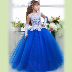 Formal Blue Tulle Custom Cute Lace Flower Girl Dress Ball Gown Floor Length Little Kids for Wedding Party Birthday Dress on Sale
