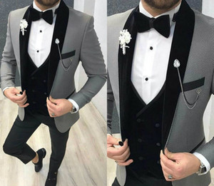 Wholesale harris tweed shawl for sale - Group buy 2020 Handsome Mens Suits Three Piece Tweed Suit Herringbone Shawl Lapel Custom Made Groom Tuxedos Wedding Prom Dress Jacket Pants Vest