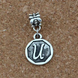 Wholesale 50pcs Dangle Antique silver Letter quot u quot Alphabet Initial alloy Charm Fit European Bracelets Jewelry DIY x30 mm A a