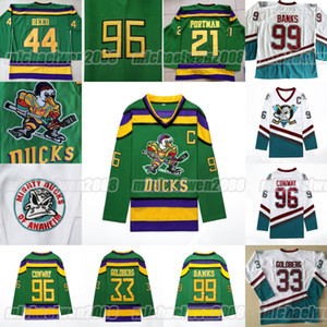 fulton venda por atacado-Mighty Ducks Hockey Filme Jersey Gordon Bombaim Charlie Conway Adam Banks Greg Goldberg Dean Portman Fulton Reed Dupla Costura Dupla