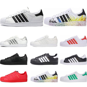 Wholesale Hot Originals superstars casual shoes Designer for men women black white gold green red super star fashion mens flat sneakers size