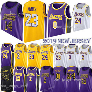 07fb54a337f 0 Kuzma 24 Kobe 23 LeBron James Basketball Jerseys Los Angeles Laker Lonzo  2 Ball Kyle