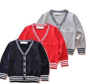 Wholesale 2019 Brand New Kids Sweater Children Cardigan Coat Baby Boys Girls single breasted jacket Boy Sweaters Logo thin sweaters