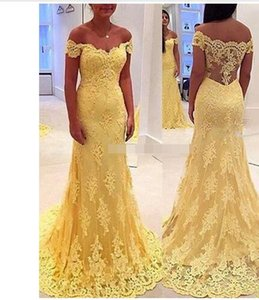 Wholesale Latest Charming Yellow Lace Sexy Off Shoulder Short Sleeve Evening Dresses Long 2019 Fall Applique Prom Party Gowns