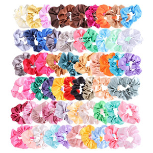 60Pcs Colorful Silk Satin Scrunchy Set Strong Elastic Bobble Hair Bands Traceless Hair Rope Accessory for Ponytail Holder