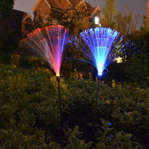 Solar Powered Outdoor Optic Fiber Lights Color Change LED Garden Lawn With Battery For Outdoor Yard Night Decoration