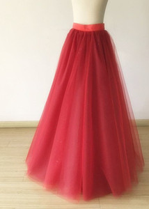 Red wine Prom Party Skirts Burgundy Birthday Tull Skirt Dress TUTU Tulle Skirt Custom Made A Line Long Women Tulle Skirt TS0036