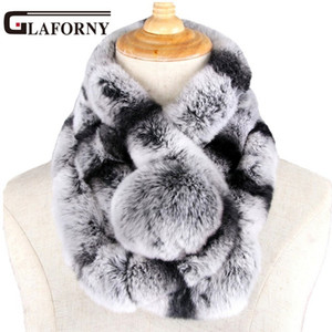 Wholesale Glaforny New winter beaver rabbit wool scarf collar lady winter warm fur scarf otter rabbit hair collar set D19011106