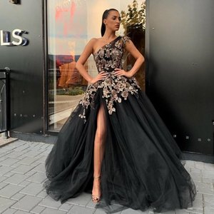 Black Beaded Side Split Evening Dresses One Shoulder Flower Appliqued Prom Gowns A Line Sweep Train Tulle Plus Size Formal Dress on Sale