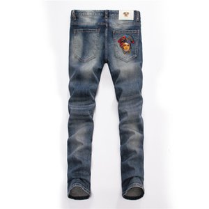Wholesale MDS Embroidered Hollow Light Blue Straight Jeans European and American Fashion Blue Men s Jeans Size