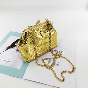 Wholesale Caker Brand Japan And Korean Style Women Yellow Sequins Small Bags High Quality Chain Crossbody Bags
