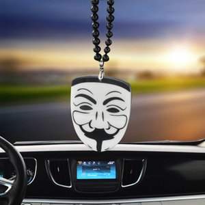 Wholesale Car ornaments hanging acrylic personality fashion vendetta mask rearview mirror decorative accessories creative car pendant