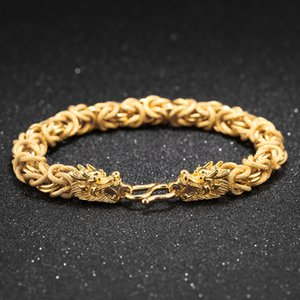 New Jewelry Men's Bracelet Gold Plated Copper Dragon Cuff Link Chain Wristband Bangle Bracelets Costume Jewellry Men Accessories Gift