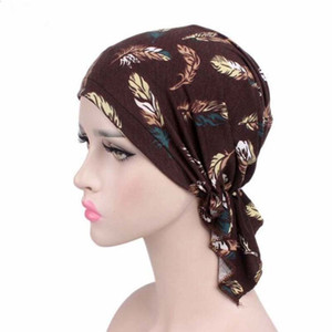 Wholesale New Stretch Cotton Printing CHEMO CAP Pre tie style Spring Summer Brand Skullies Beanies Women Turban Chemotherapy Cap