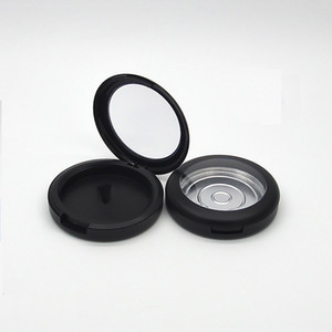 59mm Empty Cosmetic Blusher Eyeshadow Case Makeup Packaging Container Matte Black Clear Cap Cosmetic Compact 50pcs