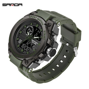 Wholesale SANDA Fashion Men Sports Watches Professional Mens Digital LED Army Dive Watch Casual Electronics Wristwatches Relojes