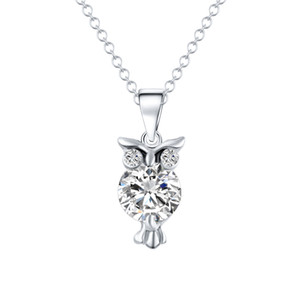 Wholesale New Zircon Pendants Owl Necklace For Women Crystal Heart Gold Sliver Color Long Necklaces Fashion Jewelry Christmas Gift