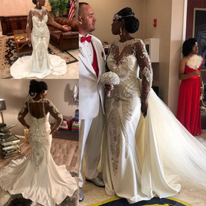Wholesale Custom Made Wedding Dresses African Nigerian Luxury Beaded Mermaid Bride Wedding Dress With Detachable Skirt Sheer Long Sleeve Backless Robe